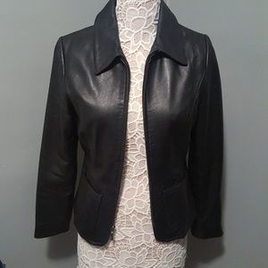 Apt 9 Lambskin Leather Jacket with Front Zipper
